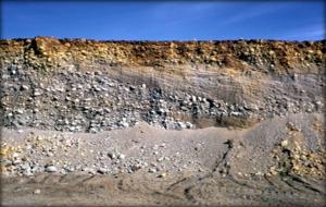 Песчано-галечно-валунные отложения ледников