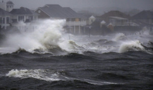 of Hurricane Irene in Bayshore, N.Y., on Long Island, Sunday, Aug. 28, 2011. (AP Photo/Charles Krupa)